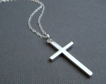 """silver cross necklace. LARGE. sterling silver smooth modern cross pendant for men women unisex. faith. simple christian jewelry. 1 1/4"""""""
