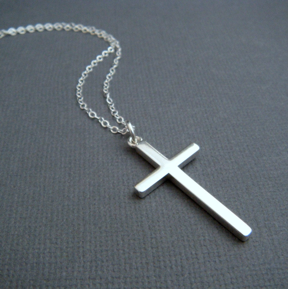 Silver cross necklace large sterling silver smooth modern zoom mozeypictures Gallery