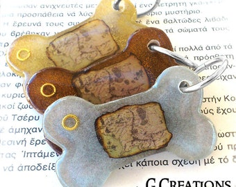 LOTR Bone Dog Tag - Map of Middle Earth and The One Ring - Inspired by Lord of the Rings and The Hobbit Handmade Dog Collar Accessory