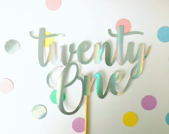 Holographic word/number cake topper - Choose your wording