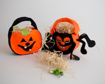 PDF Hallowen bags Trick or treat Sewing Pattern , DIY crafts - Pumpkin and Spider   - table decoration , Halloween party