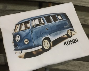 Classic Volkswagen Dove Blue Kombi T-shirt.  Full front print on a 100% cotton preshrunk Tee. White shirt, full color print.