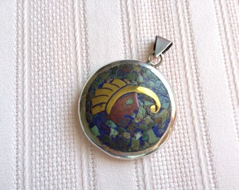 Vintage Double Sided Sterling Pendant with Mixed Metals and Stones
