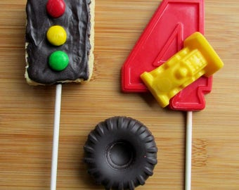 RACING THEME Chocolate Party Pack - (1-9 AVAILABLE) Race Car Birthday/Stoplight Favors