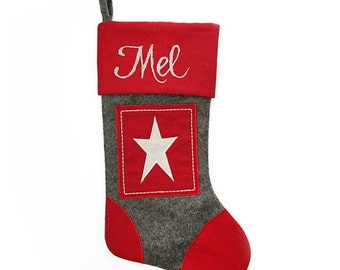 Personalised Grey and Red Star Felt Stocking