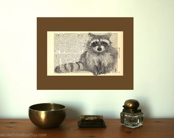 Rustic Home decor | Wall decor | Racoon Art Print | Farmhouse decor | New Home | Shabby Chic | Book Art | Housewarming Gift