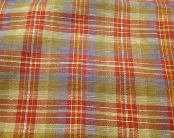 3 Yards of Vintage Red and Yellow Plaid Cotton Blend Fabric