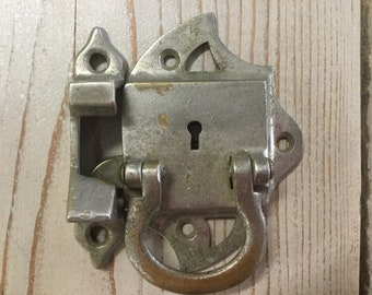 Antique Surface Mount Latch, 2 Piece, Chrome plated Brass
