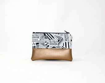 Mini bag - Geometrics copper, bag, cosmetic bag, purse, make-up bag, vegan, minimalist, pouch, pencil case,