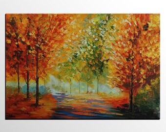 Canvas Painting, Autumn Landscape Painting, Original Wall Art, Canvas Painting, Large Painting, Tree Painting, Autumn Painting, Large Art