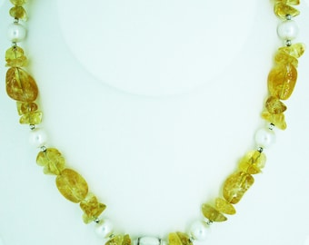 """17"""" Citrine and Pearl necklace with mother of pearl flower center"""