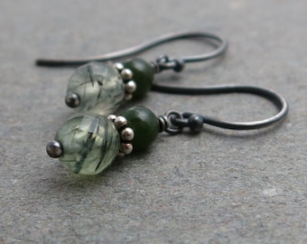 Green Rutilated Quartz Earrings Jade Sterling Silver Oxidized Gift for Wife