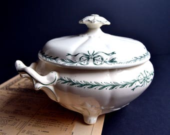 Antique French Green & White Transferware Tureen Ironstone Ribbons Bows Serving Soup bowl Longchamp Belleville