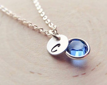 New Baby Necklace, Silver Birthstone and Initial Charm, Birthstone Necklace, Personalized Necklace, Mothers Jewelry, New Mom, Push Present