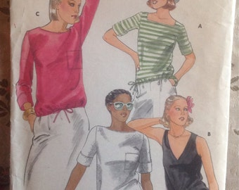 Vintage 1980s Drawstring T-Shirt Pattern // Butterick See & Sew 5500,  size 16, XL, plus