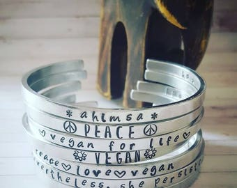 Hand Stamped 'Skinny' Aluminium Bangle *!!*MANTRA*!!* EASILY PERSONALISED! Gifts
