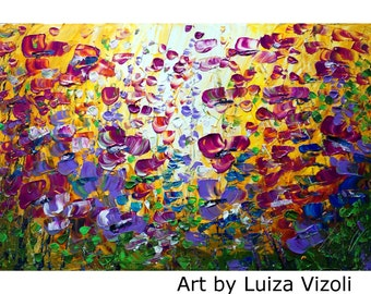 PURPLE FLOWERS Original Painting on Large Canvas YELLOW Violet Flowers Field 36x24 canvas ready to hang