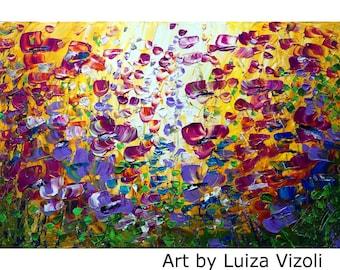 FLEURS violettes Original peinture sur champ de fleurs Violet grande toile jaune 36 x 24 toile prête à accrocher