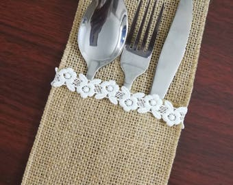 Set of 10-Wedding Table Set,Table Setting,Burlap Silverware Holder,Wedding Rustic Menu,Burlap table decoration,Rustic table decor, - (PY)21