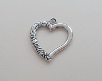 Heart Charms, Jewelry Charms, Open Heart Charms, Metal Charms 22mm, Jewelry Supplies, 30 QTY