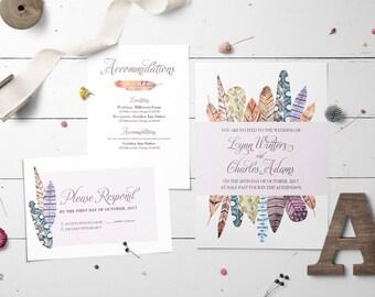 Feather Boho Wedding Invitation Suite . PRINTABLE .
