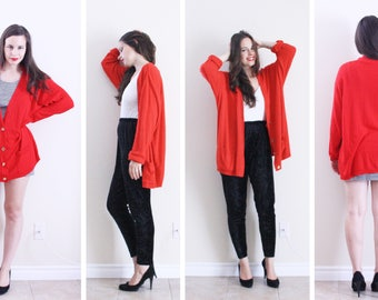 Red Cardigan . 1980s Red Sweater Red Button Up XXL Cardigan Ugly Christmas Sweater Red jumper vintage cardigan Ugly Sweater