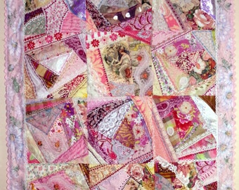 Springtime Pink Purple Lavender Gold Rick Rack Crazy Quilt Art Quilt Flowers Fans Lace Beads Pearls Hand and Machine Stitched