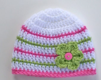 Baby Girl Hat, 3 to 6 Months Hat, Baby Beanie, Pink, Green and White Hat