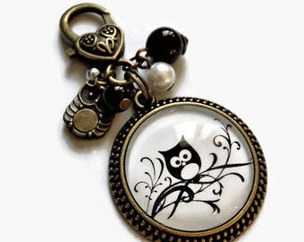 bag charm / key chain pattern, an OWL on a branch! black and white bronze, glass cabochon