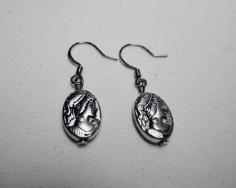 Dangle and Drop Madonna Earrings, Silver Plate Dangle Earrings, Mother's Day Gift for her, Unique Earrings On Sale, Free shipping to Canada