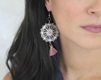 Mandala Tassel Earrings - Boho Flower Earrings Mandala Hypoallergenic Silver