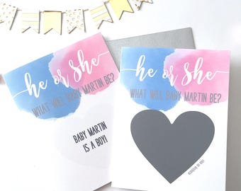 Personalized Gender Reveal Card - He or She What Will Baby Be - Gender Reveal Card for Friends and Family - Blue and Pink Watercolor