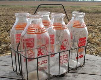 Wire Carrier 5 Glass Cream Milk Bottles Milking Dairy Modern Dairy Quincy IL
