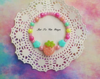 Adorable Fairy Kei Kawaii  Pastel Peach Bracelet