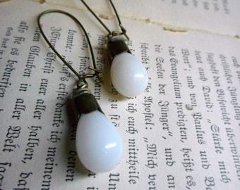 Illuminate. Vintage Milk Glass Droplet & rustic brass scalloped cap earrings.