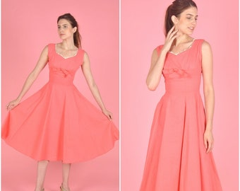 1950s Pink Bow Cotton dress | vintage 1950s dress | textured pink cotton 50s dress