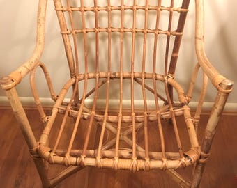 Shipping Not Included- PAIR of Mid Century Franco Albini Style Rattan Bentwood Armchairs
