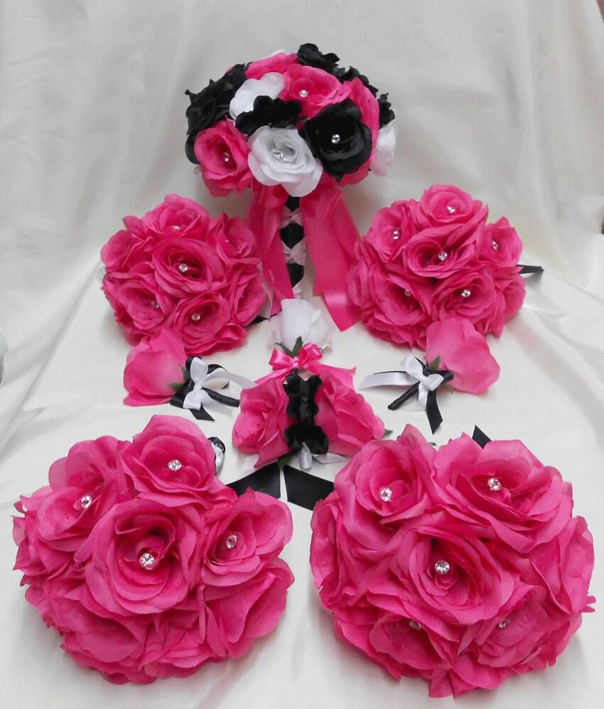 Wedding Silk Flowers Bridal Bouquets Your Colors 18 pcs
