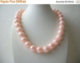 ON SALE Retro Pretty In Pink Molded Plastic Beads 1960s Heavier Necklace 31217