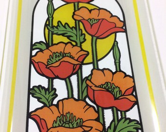 Vintage Tsuru poppy glass tray, Japan, 1970s