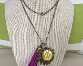 Long Monogrammed Tassel and Laurel Wreath Charm Necklace - Antique Bronze Personalized Necklace - The perfect personalized accessory!