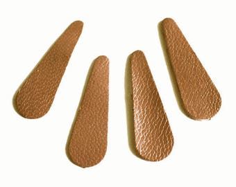 Set of 4 shapes 1 x 3.2 cm style petals or drops in beige leather