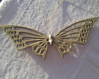 """11"""" Vintage Brass Butterfly Unpolished Wall Decor Vintage India"""