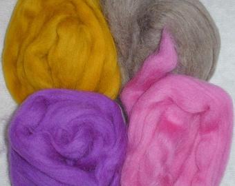 Merino Wool Fiber Sampler:  top, roving for needle felting or wet felting or  spinning fiber. 1oz.