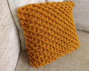 Beautiful Hand Made Knitted Crochet Crocodile Stitch Cushion Pillow  Cover in Burnt Orange Paprika with Wooden Printed Buttons