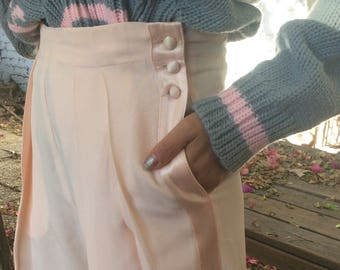 Vintage Powder Pink Trousers Tuxedo Stripe  High Waisted Pants