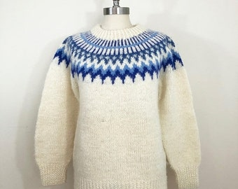 30% Off Sale 80s Hand Knit Fair Aisle Cream and Blue Fluffy Wool Knit Sweater, Size Medium to Large