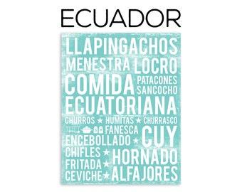 Ecuadorian Food Poster - Ecuador Poster - Food Word Art - Various Sizes & Colors