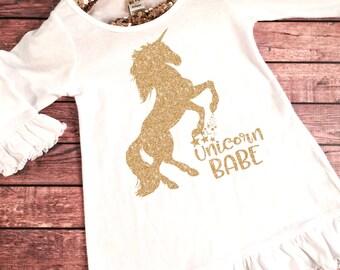 Baby Girl Clothes, Unicorn Babe Dress, Unicorn Dress, Unicorn Birthday Party Dress, Unicorn Party Dress,Unicorn Outfit,Glitter Unicorn Dress