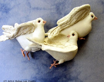 PDF Pattern, Doves, Birds, Sewing Pattern, Soft Sculpture, Wall Hanging, Primitive Bird
